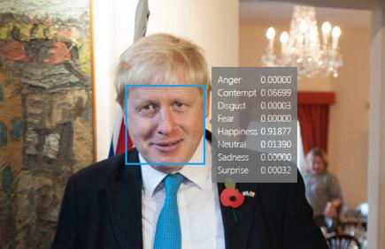 Boris Johnson with Microsoft Facial recognition result