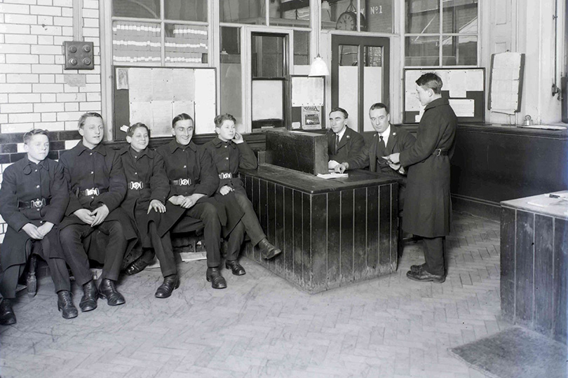 Boy messengers, telegram despatch room, Piccadilly (Church Place) office. 1931.