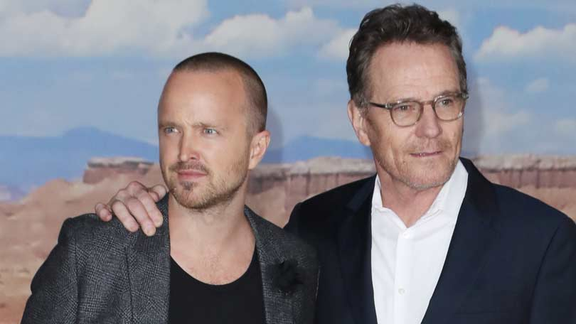Aaron Paul and Bryan Cranston at the Breaking Bad Movie premiere
