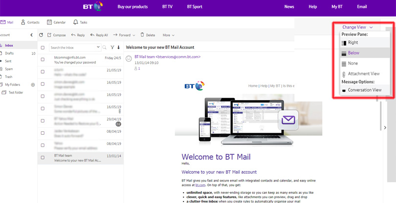BT Mail screenshot showing changing the interface