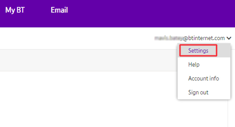 BT Mail settings optoin