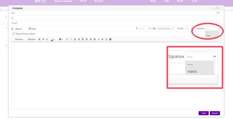 BT Mail signature screenshot