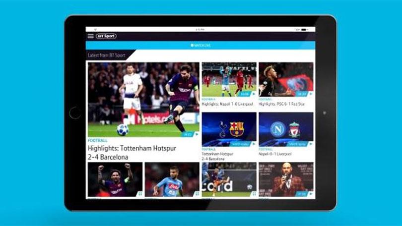 BT Sport app on tablet