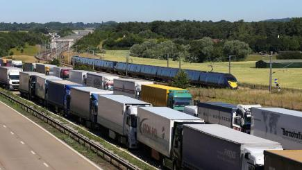 Lorries have been parked on the M20 during the industrial unrest in France