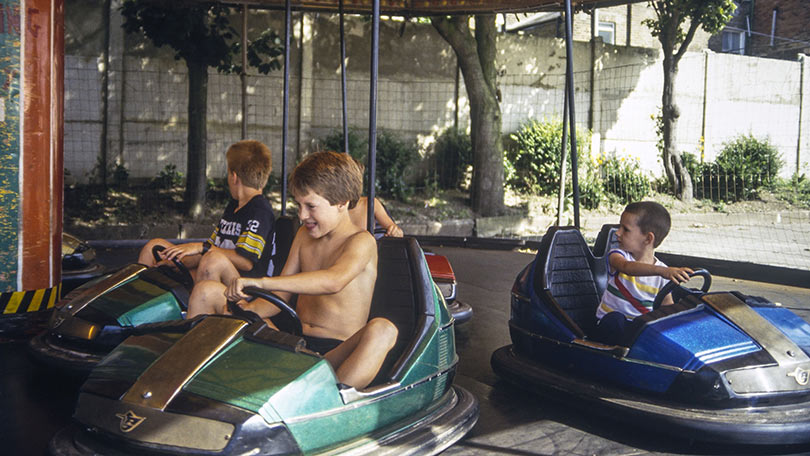 Children honing their driving skills on the dodgems in 1985.
