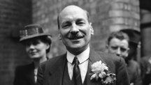 Clement Attlee celebrating election victory in July 1945.