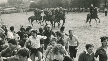 Confrontation between riot police and picketers at the Orgreave Coke Works, South Yorkshire.