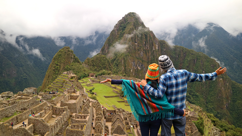 Couple enjoying Aztec view
