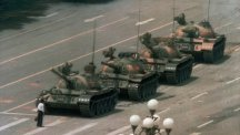 Tank man, the iconic image of the Tiananmen Square protests