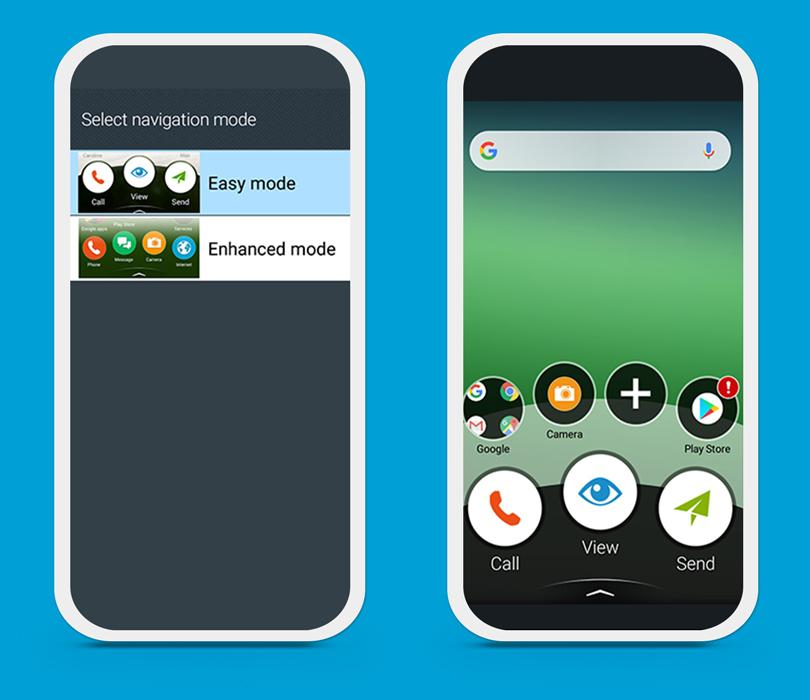 Doro 8025 Easy and Enhanced mode menu options