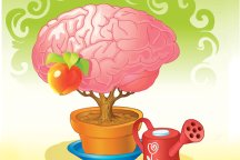 Drawing of brain in flowerpot being watered