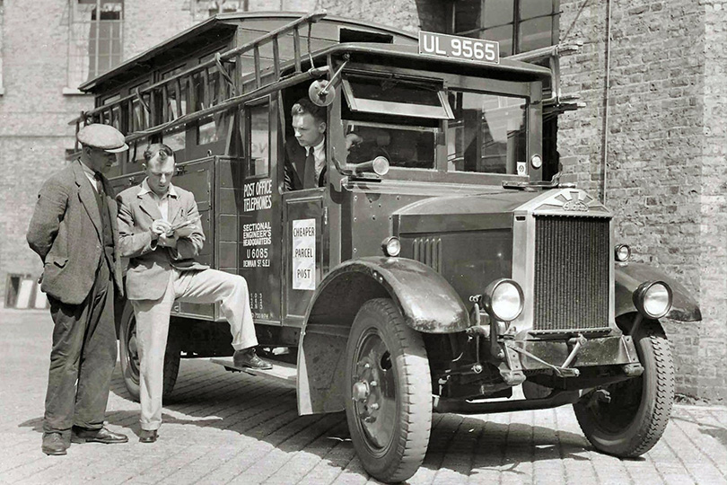 Engineers with an engineering utility van at Rodney Exchange, London. 1935.