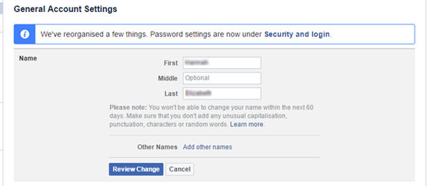 Facebook 'general account settings' change name