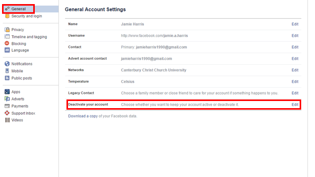 how to delete deactivated facebook account