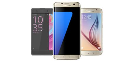 A selection of mobile phones available on BT Mobile