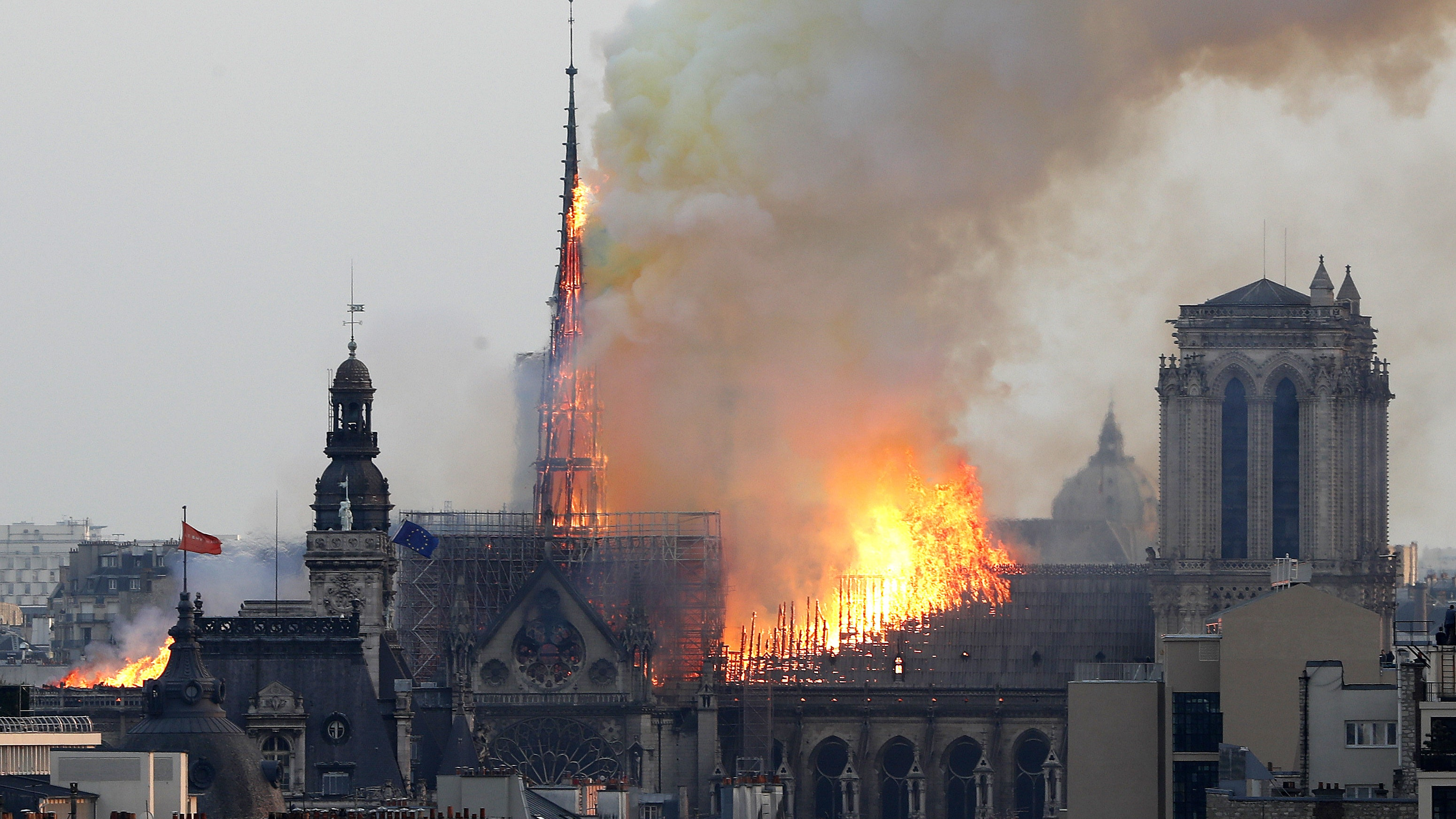 Fire Breaks Out At Top Of Notre Dame Cathedral In Paris Bt