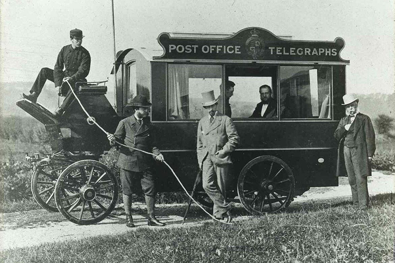 First mobile telegraph office, Oxford and Cambridge Boat Race. 1872.