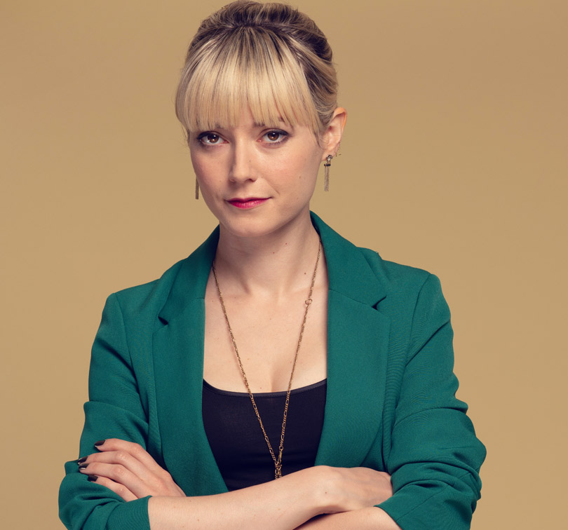 Lydia Wilson plays Eve in Flack