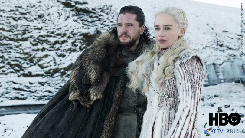 Kit Harrington and Emilia Clarke as Jon Snow and Daenerys in Game of Thrones