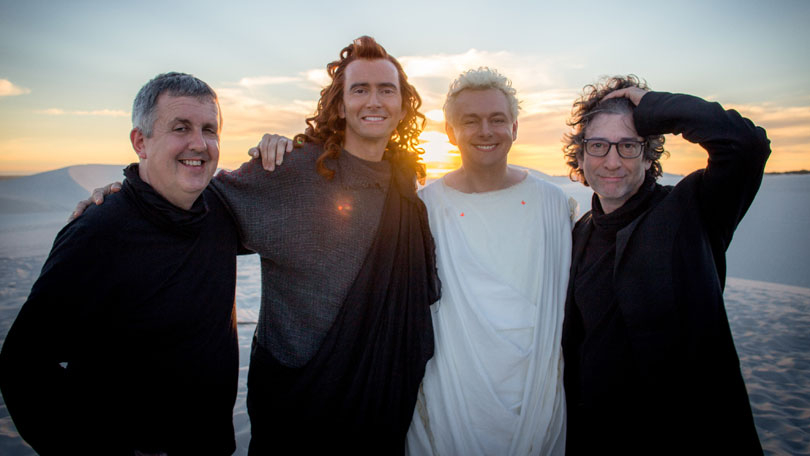 David Tennant and Michael Sheen with Good Omens creator Neil Gaiman and director Douglas Mackinnon