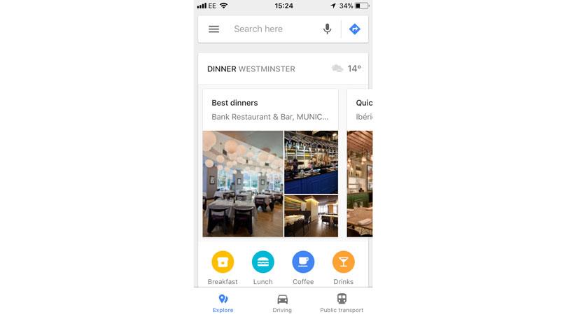 Google Maps Explore smartphone