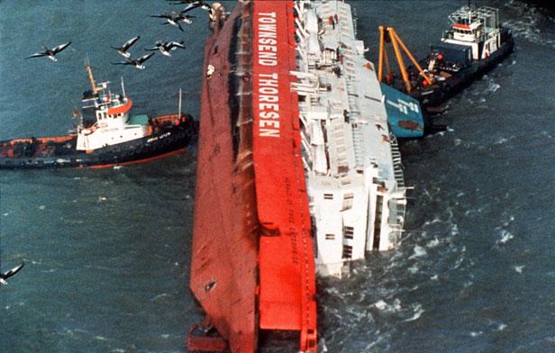 The Herald of Free Enterprise lies on its side in Zeebrugge.