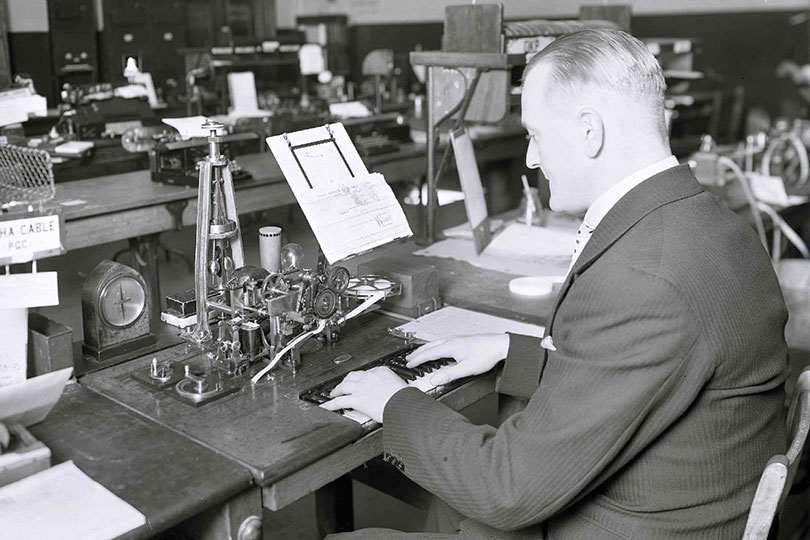 Hughes printing telegraph instrument at the Central Telegraph Office, London. 1934.