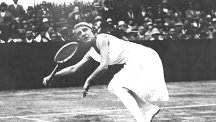 Suzanne Lenglen playing tennis at Wimbledon