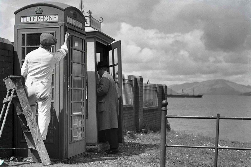 K1 and K6 telephone kiosks at Gourock, Inverclyde. 1938.