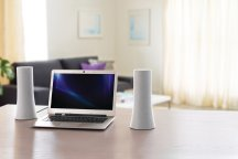 Logitech Z600 lifestyle shot on desk desktop speakers