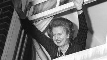 Margaret Thatcher waves to well-wishers after winning a second term of office in 1983.