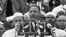 Martin Luther King delivers his famous speech in Washington DC