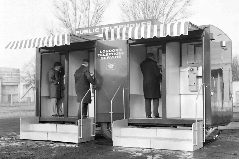 Mobile telephone kiosks trailer near Wembley Stadium. 1969.