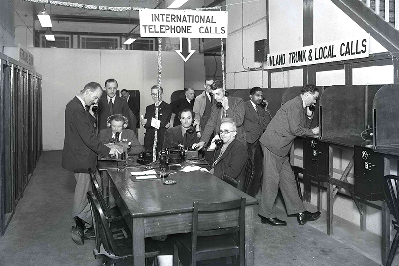 Olympic Games press room, Wembley. 1948.