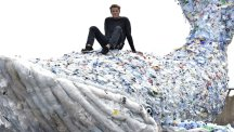 Olympic rower James Cracknell unveils giant plastic whale