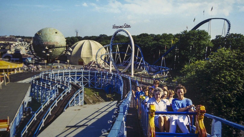 Park visitors ride the iconic rollacoaster at Dreamland.