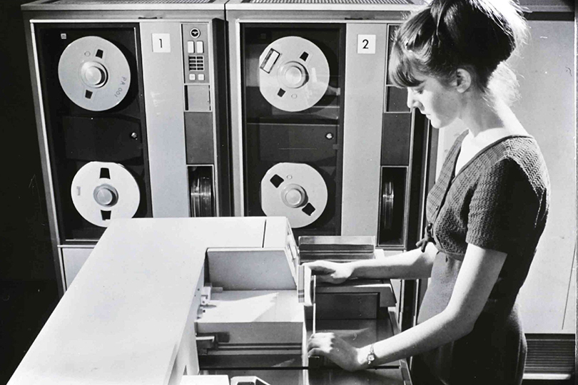 Post Office computer processing punched data entry cards. 1969.