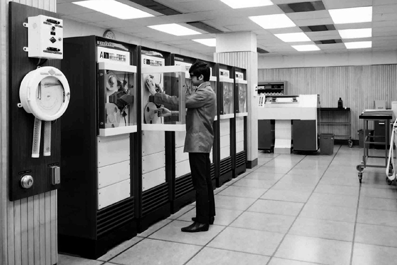 Post Office Elliott 503 computer room. 1969.