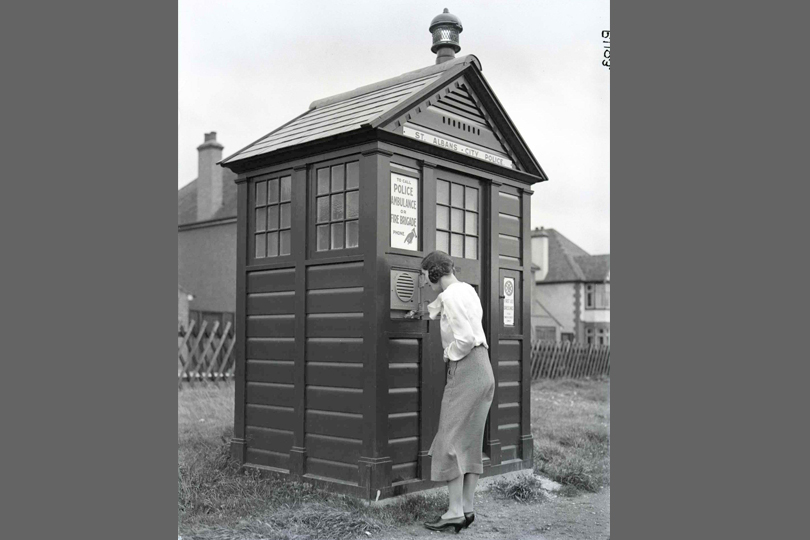 Public emergency call station on a police kiosk, St Albans. 1936.