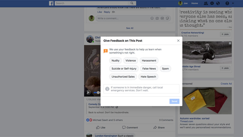Report content on Facebook