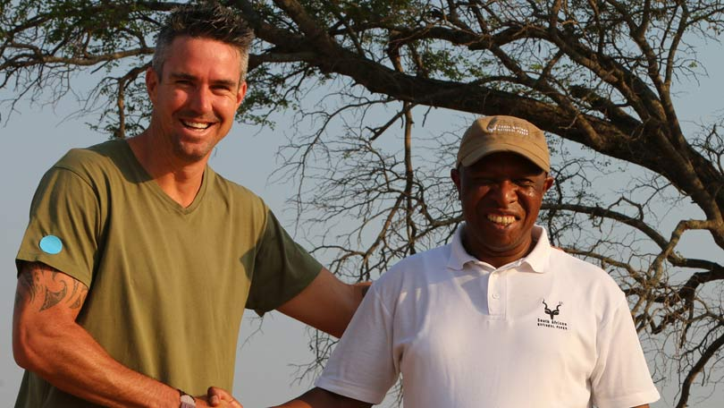 Save this Rhino - Kevin Pietersen filming the National Geographic series