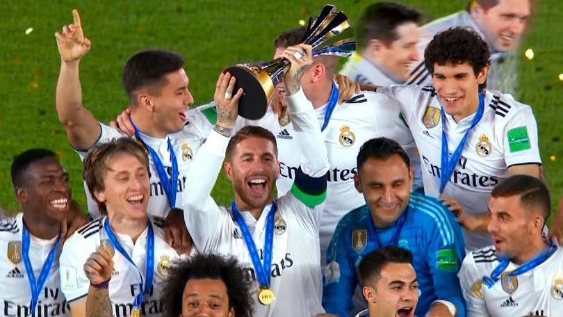 Sergio Ramos celebrates with his Real Madrid teammates
