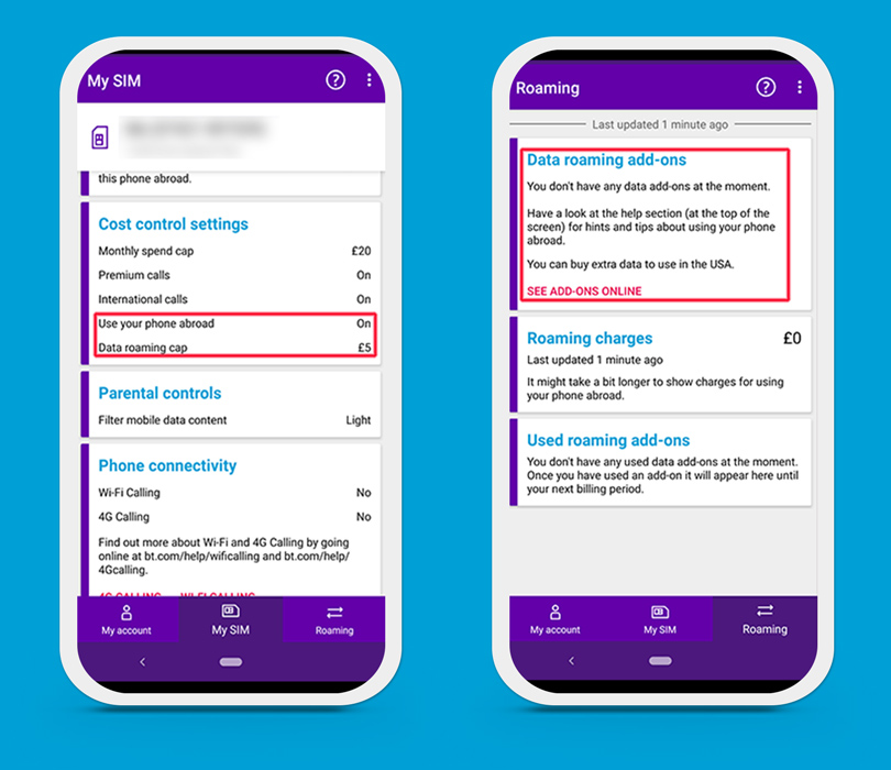 BT Mobile app data add-ons