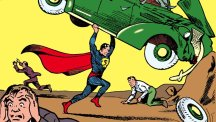 Superman lifts a car above his head on the cover of Action Comics 1.