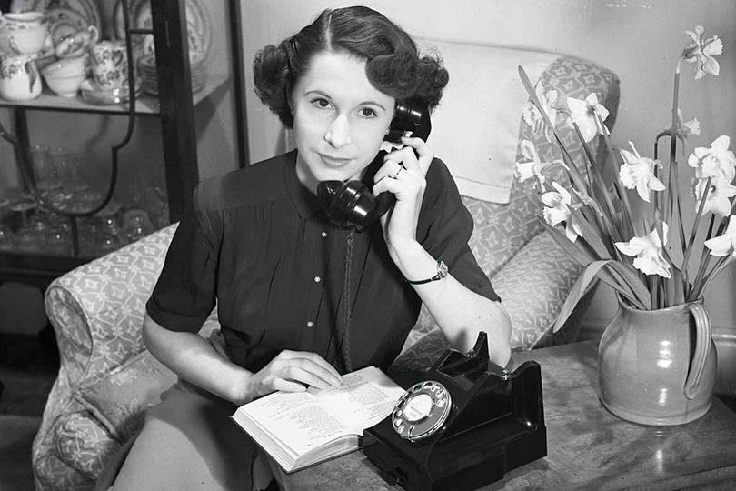 Telephone in use in the home. 1952.