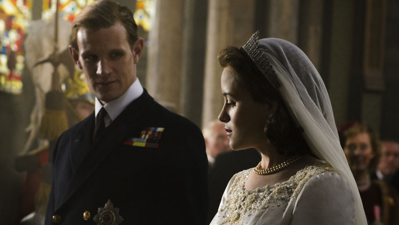 Claire Foy and Matt Smith in the Royal Wedding in The Crown season one
