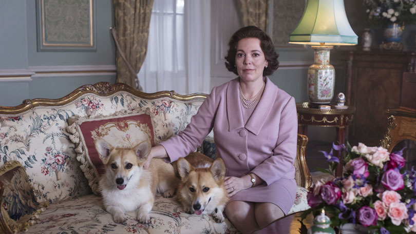 Olivia Colman with The Corgis