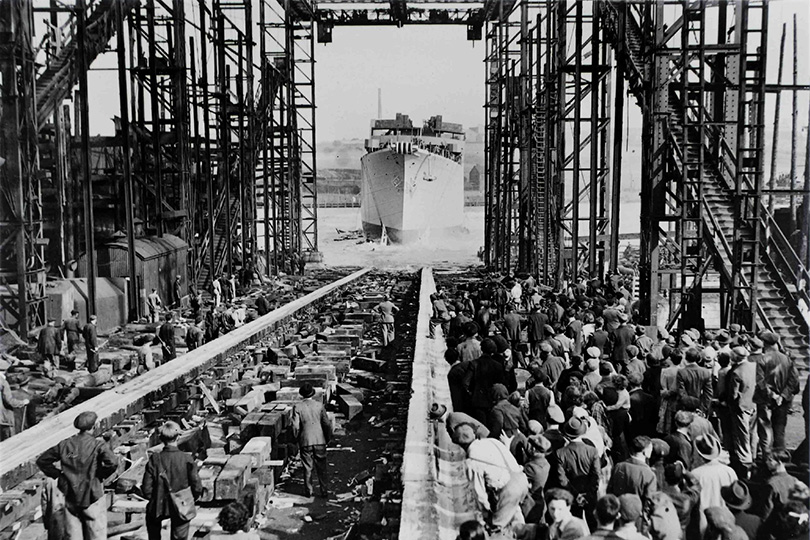 The launch of Post office cable ship HM Telegraph Monarch. 1946.