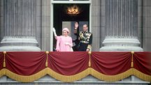 The Queen and Prince Phillip greet wellwishers from the balcony of Buckingham Palace.
