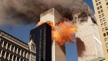 The second hijacked jet hits the South Tower of the World Trade Center.